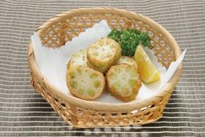 平八)蓮根枝豆挟み揚げ 約30g×16個【季節限定4月-8月】